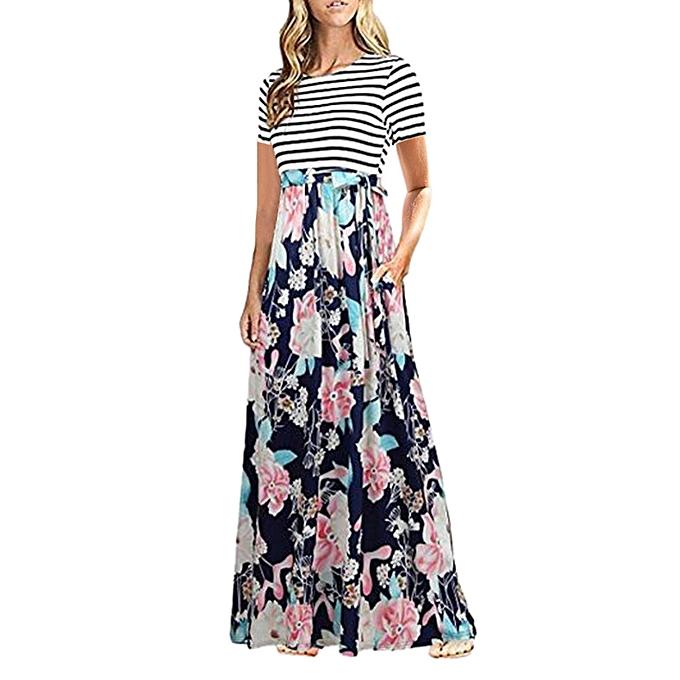 Fashion Tcetoctre Shop femmes Summer Boho Short Sleeve Striped Floral Print Party Beach Long Maxi Dress à prix pas cher