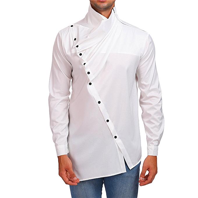 Fashion Personality Men Autumn Casual Slim Long Sleeve Solid Shirt Top Blouse -blanc à prix pas cher