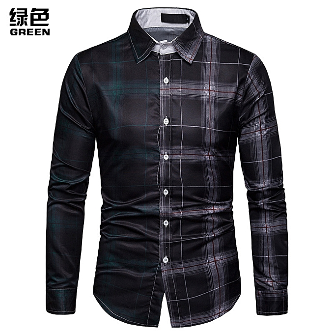 mode Hommes& 039;s Spbague 3D Affaires Spbague and Autumn Contrast Plaid Panel Shirt C458-vert à prix pas cher