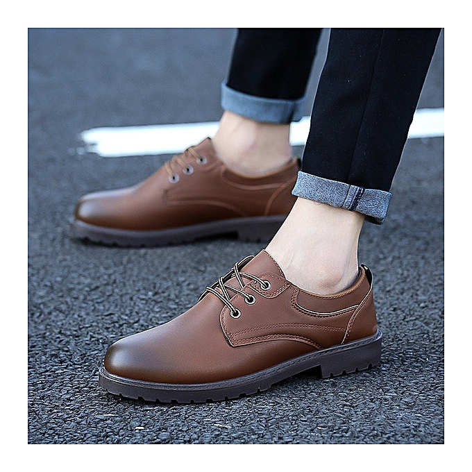 OEM New leather chaussures hommes sports chaussures trend hommes chaussures wild chaussures-Khaki à prix pas cher