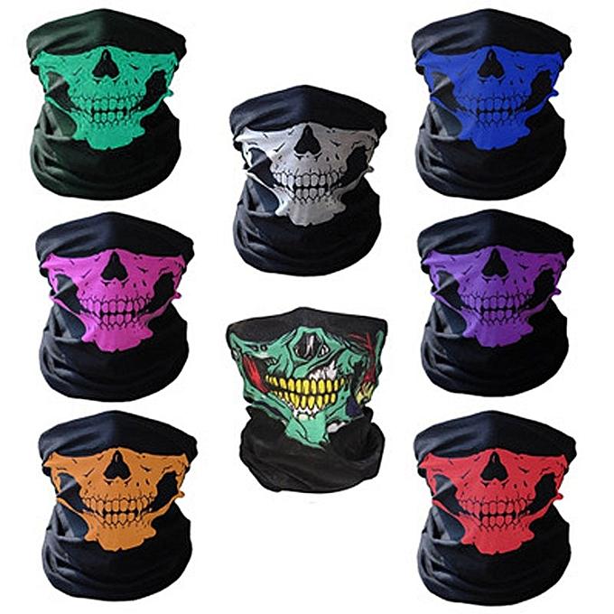 Autre Motorcycle Skull Mask Biker Bicyle Ski Skull Half Face Mask Outdoor Face Shield Balaclava Ghost Scarf Handsome Unisex Masks( blanc) à prix pas cher