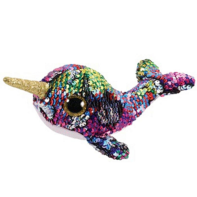 Autre Ty Beanie Boos Sequin Animal Plush Toys Doll Cat Owl Fox Bunny Unicorn Best Christmas Gift 15cm(Narwhal) à prix pas cher