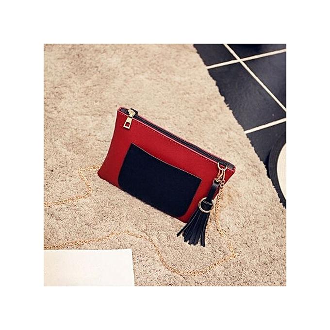 Siketu Fashion femmes Leather Tassels Handbag Crossbody Shoulder Messenger Coin Bag RD- rouge à prix pas cher