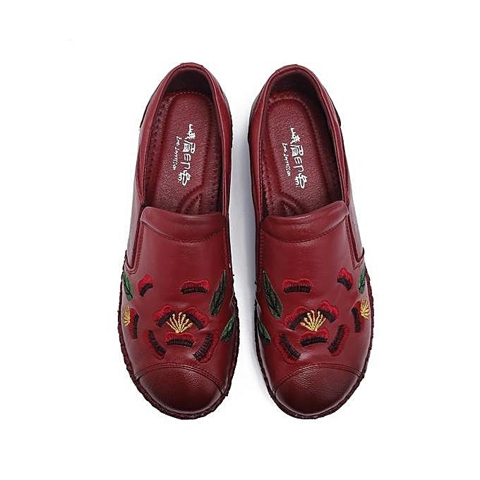 Fashion Fashion Vintage WoHommes  EmbroideRouge  Soft Sole Vintage Fashion Flat Shoes Loafers à prix pas cher  | Jumia Maroc e84295