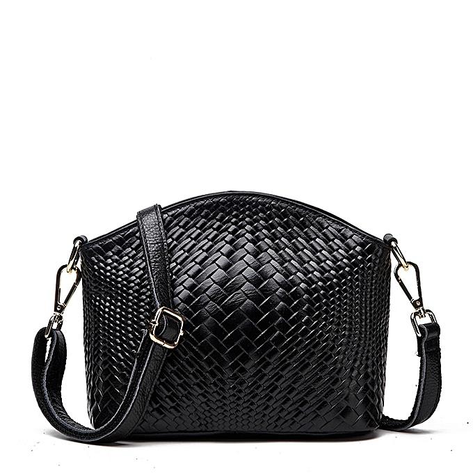 Other Cowhide Weave Grain Shell Korean Single Shoulder Package  femme Package Oblique Satchel femme Packet(noir) à prix pas cher