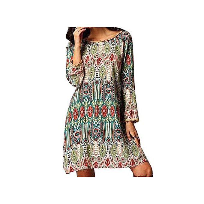 mode Ethnic Style Round Collar Tribal Print Tassel Robe For femmes_vert_M à prix pas cher