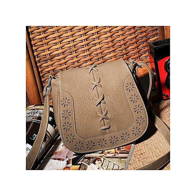 Siketu Fashion Buns Hollow Woven Shoulder Diagonal Handbags A-Khaki à prix pas cher
