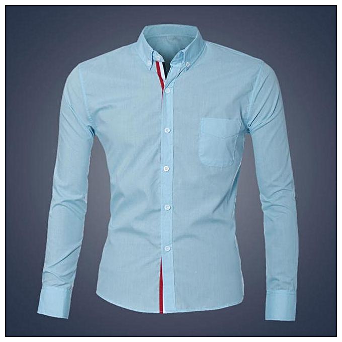 mode jiuhap store mode Pour des hommes Luxury manche longue Décontracté Slim Fit mode Robe Shirts LB L à prix pas cher