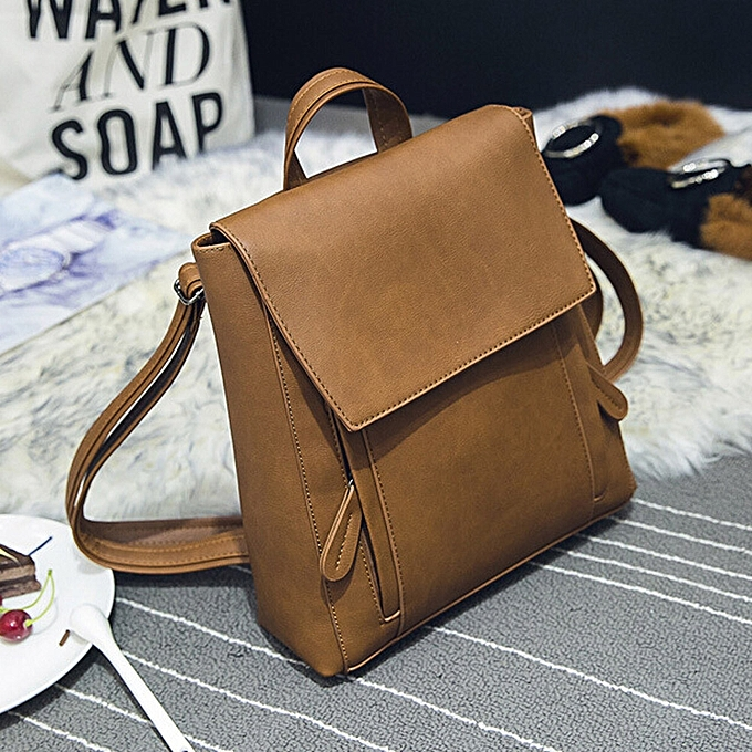 Fashion Tcetoctre femmes Girl Leather Rucksack Shoulder Bookbags School Bag Satchel Travel Backpack-Khaki à prix pas cher