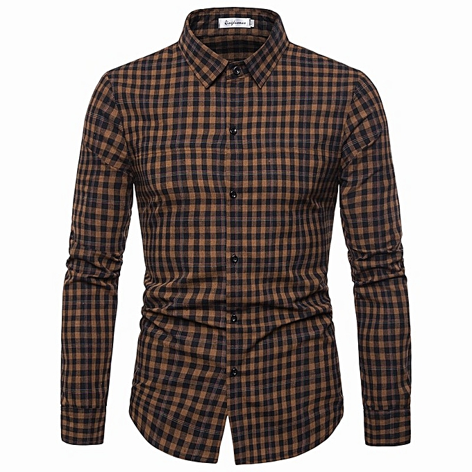 mode nouveau Décontracté Hommes& 039;s explosions Décontracté pointed collar long-sleeved plaid shirt-Coffee à prix pas cher