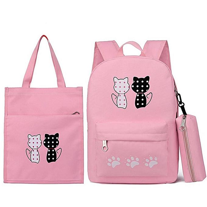 Fashion 3 piece set cartoon cat student bag backpack backpack à prix pas cher