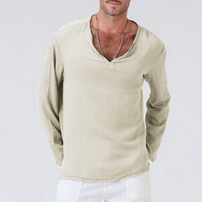 Fashion Mens Summer T-Shirt Solid Thai Hippie Shirt V-Neck Beach Yoga Top Blouse -Khaki à prix pas cher