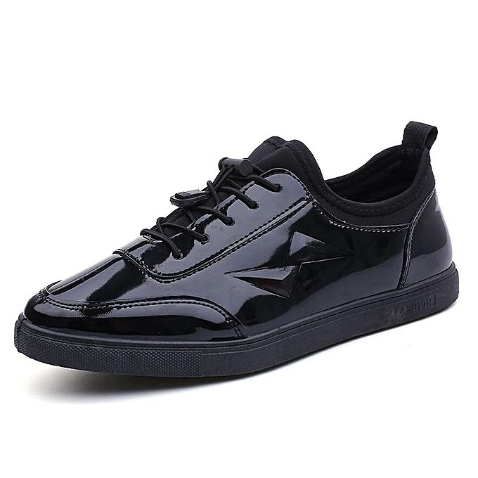 Other nouveau mode Hommes's Spbague nouveau Leisure Korean Youth Sports Board Glace cuir chaussures-Mirror noir à prix pas cher