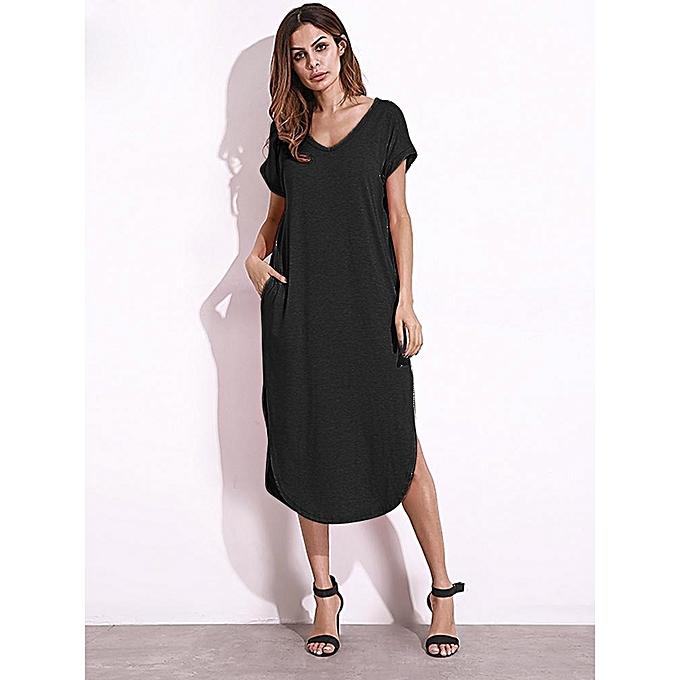 Zanzea ZANZEA Femme queue col V manches courtes Split Pockers Casual Robe longue noire à prix pas cher