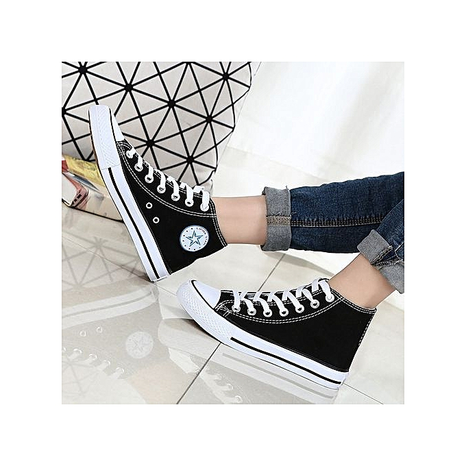 OEM New classic canvas chaussures vulcanized hommes chaussures couple models student chaussures autumn Korean version-noir à prix pas cher