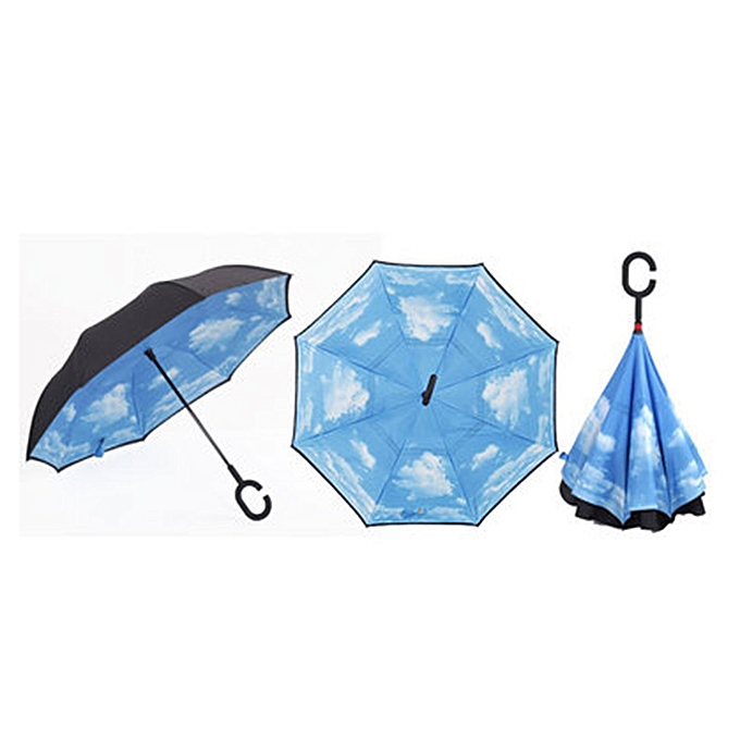 Generic Affaires Style voiture Umbrella Windproof Double-layers Reverse Opening à prix pas cher