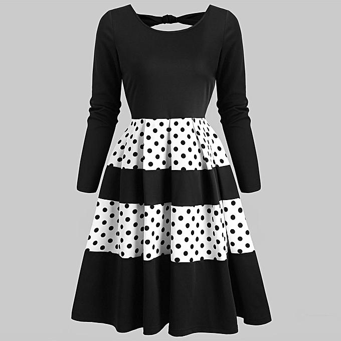 Fashion jiahsyc store femmes Contrast Polka Dot Bow Back Cut Out  Vintage Long Sleeve noir Dress-noir à prix pas cher