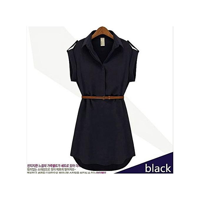 Fashion Short Sleeve Sheath Dress Petal Sleeve Dress Bow Belt One-piece femmes Elegant Solid Work Dress Office Bodycon Female-noir à prix pas cher