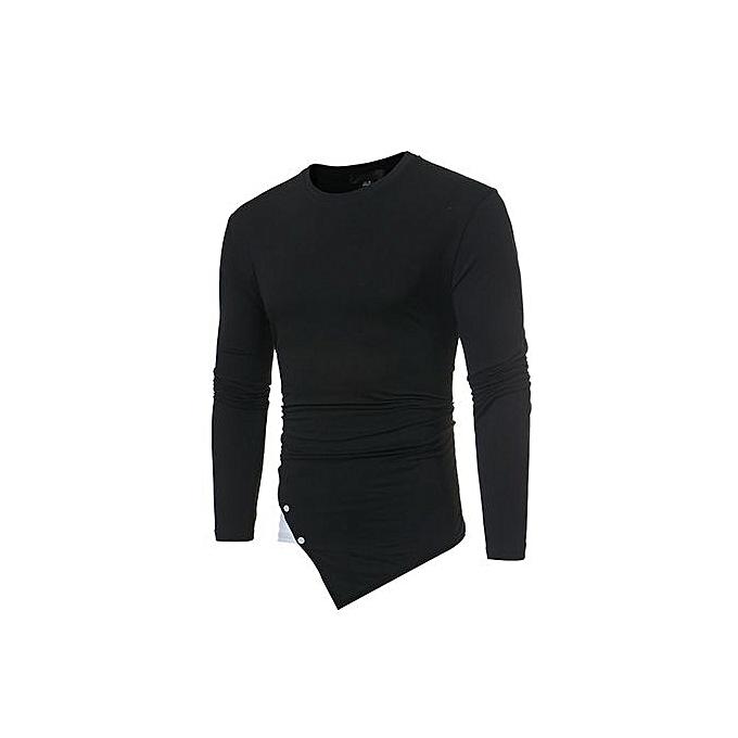 Eissely Men Slim Fit O Neck Long Sleeve Muscle Tee T-shirt Casual Tops Blouse -noir à prix pas cher