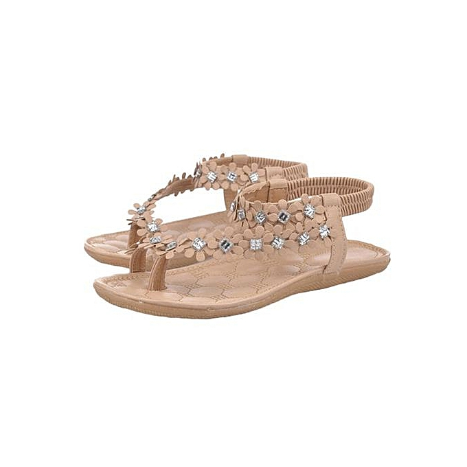 mode Hiamok_femmes été Bohemia FFaibleer Beads Flip-flop chaussures Flat Sandals KH 39 à prix pas cher