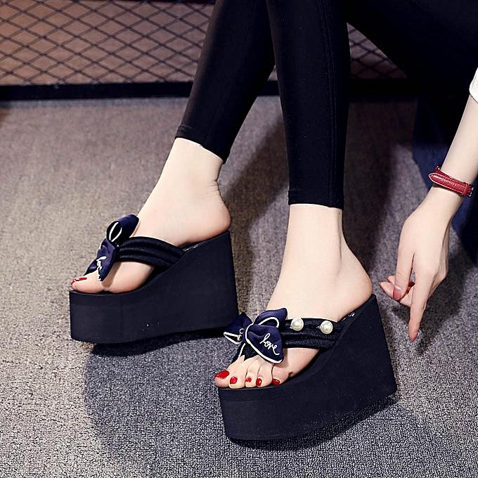 Fashion TEC femmes Ladies Girls Pearl Bowknot Wedges Flip Flops Sandals Slippers Beach chaussures à prix pas cher