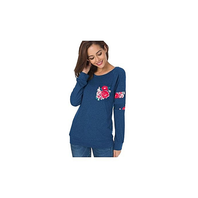 mode Western Style For Autumn And Winter femmes& 039;s chemisier Round Collar manche longue Printed Pocket Europe And The United States T-shirt-NAVY bleu à prix pas cher