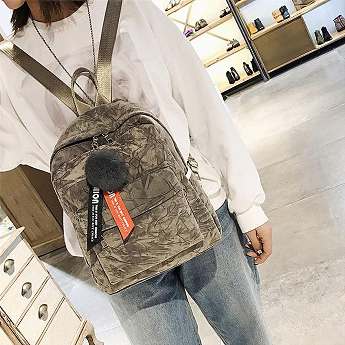 mode whiskyky store Wohommes mode Plush Ball Shoulder sacs sac à dos voyage sac à dos-Khaki à prix pas cher
