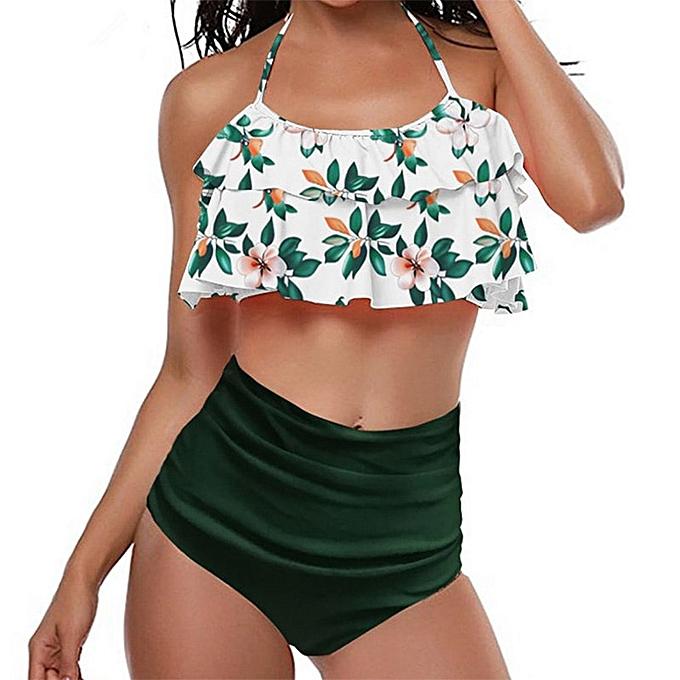 Autre Swimwear femmes Bikini 2019 femmes High Waist Swimsuits Ruffles Bikinis Swimming Suit For femmes Push Up Bathing Suits Biquini JY-M( Y9254-2) à prix pas cher
