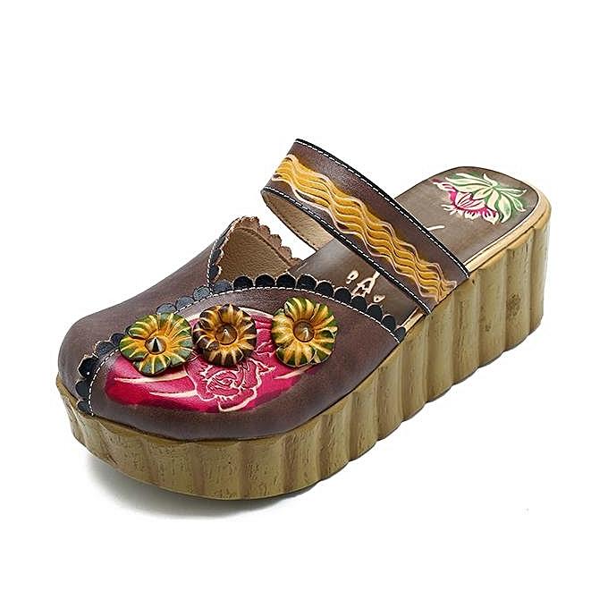 Fashion SOCOFY WoHommes  Handmade Leather Shoes Summer Soft Flower Slippers Flower Soft Platform Sandals-EU à prix pas cher  | Jumia Maroc 655119