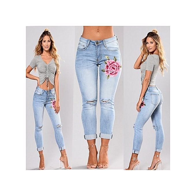 Fashion Embroiderouge denim waist pants female casual pocket skinny pencil jean fashion  pants jeans femmes trousers-light bleu à prix pas cher