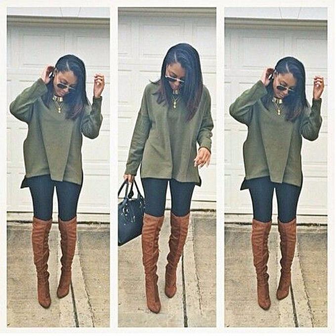Fashion Hiamok femmes Loose Long Sleeve Round Neck Irregular Sweater Tops Shirt Blouse M à prix pas cher