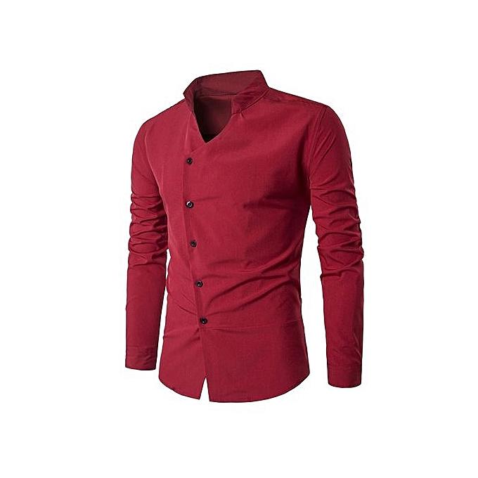 mode Stand Collar Oblique Placket manche longue Shirt_rouge à prix pas cher