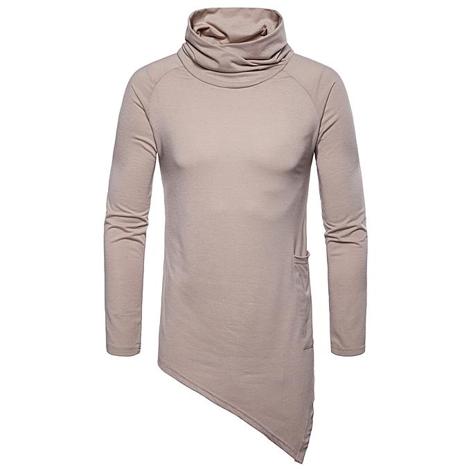 mode mode Hommes& 039;s Décontracté Solid Autumn Winter Choker Outwear hauts chandail chemisier -Khaki à prix pas cher