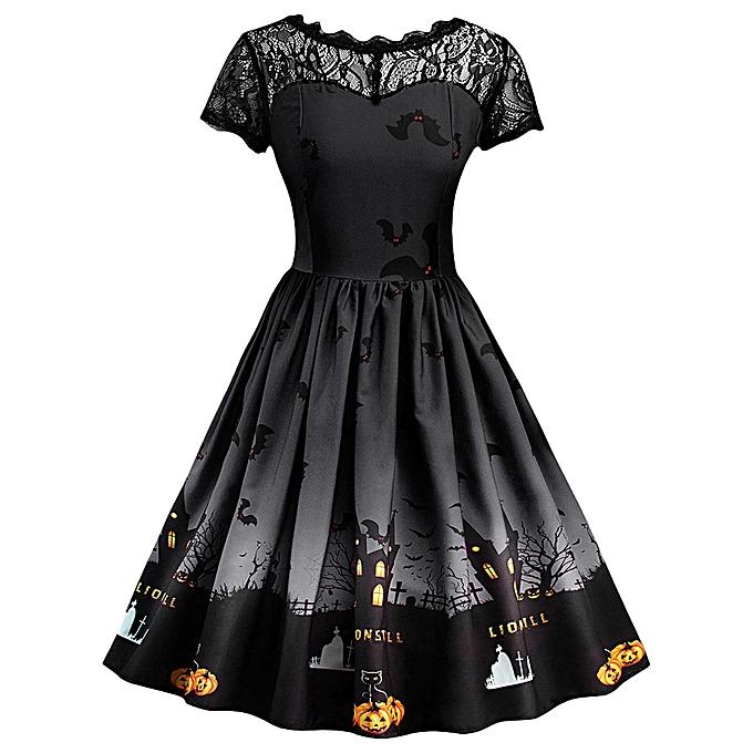 Generic Xiuxingzi femmes Short Sleeve Halloween Retro Lace Vintage Dress A Line Pumpkin Swing Dress à prix pas cher