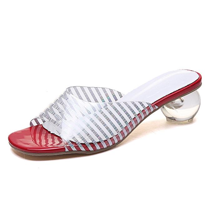 mode Balle transparente avec Sandales à bout ouvert pour femmes-Rouge à prix pas cher