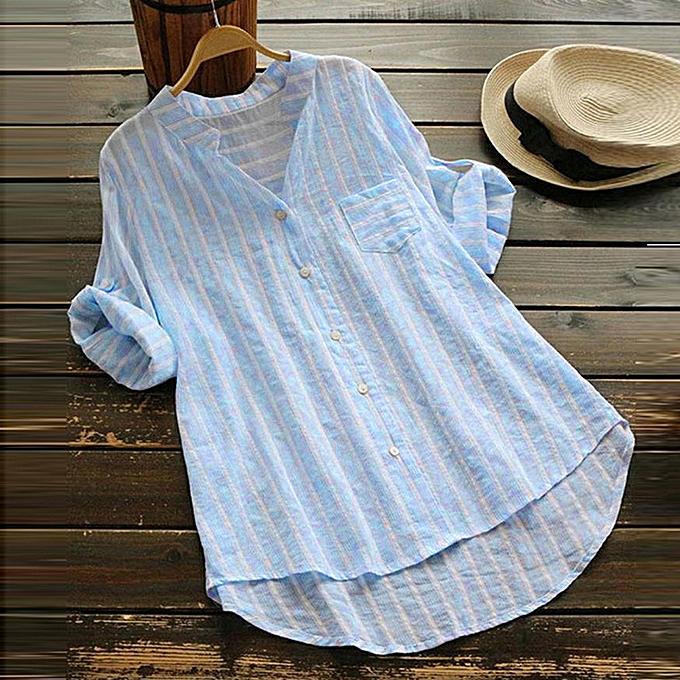 mode whiskyky store femmes Plus Taille été rayé V Neck chemisiers Loose sacgy hauts Tunic T Shirts à prix pas cher