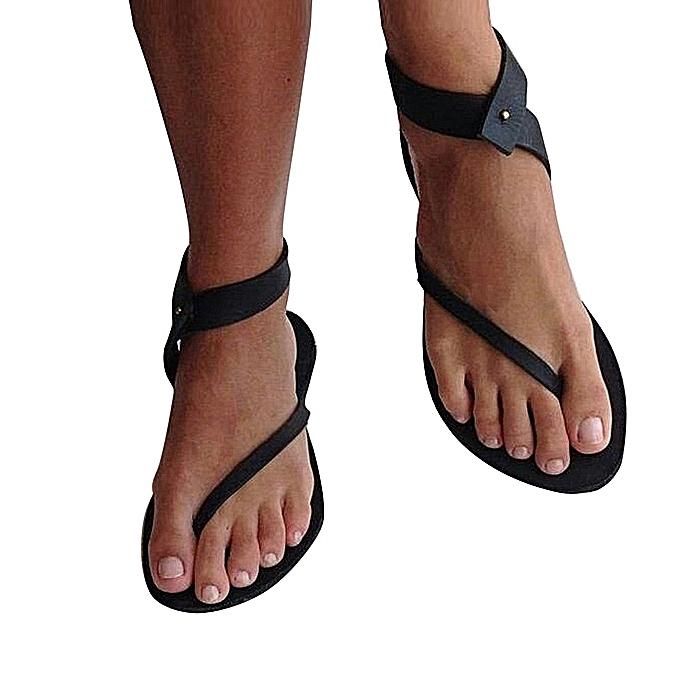Fashion femmes Ladies Sandals Strap Flat Ankle Rohomme Cusual chaussures Thong Footwear-noir à prix pas cher    Jumia Maroc