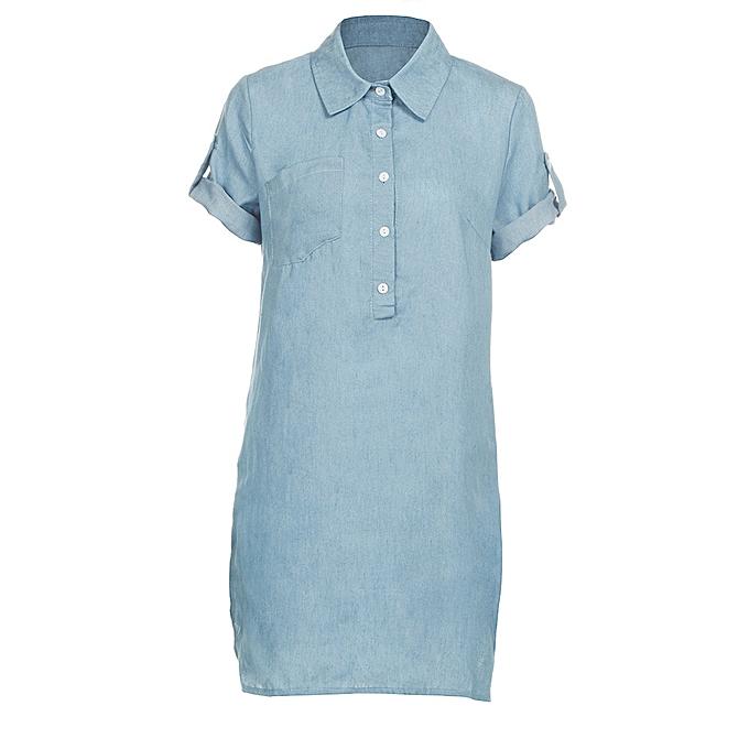mode schoolcool femmes manche courte Robe Solid Denim Robe Turn Down Collar Mini Robe XL à prix pas cher