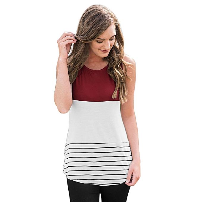 Generic Generic femmes Ladies Stripe T-Shirt Sleeveless Round Neck Tank Casual Tops Blouse  Vest A1 à prix pas cher