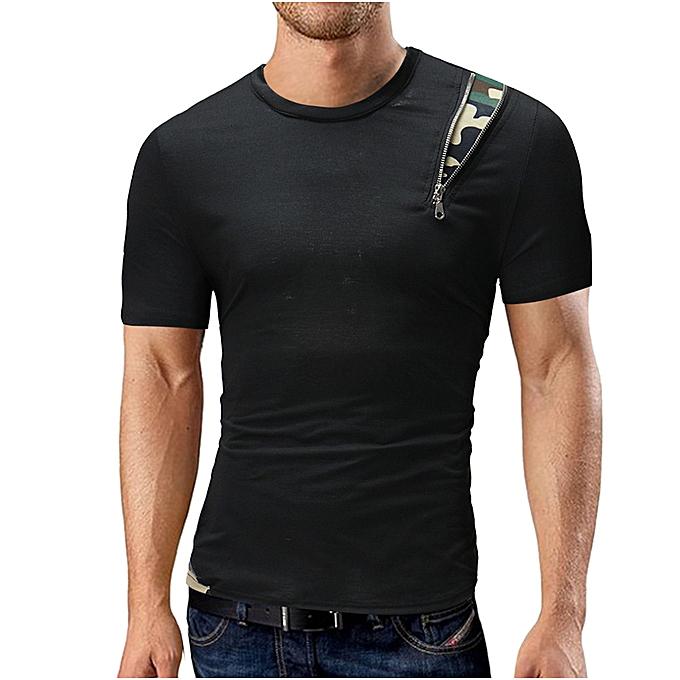 Fashion Men's Summer Casual Round Neck Solid Patchwork T-shirt Short Sleeve Top Blouse  -noir à prix pas cher
