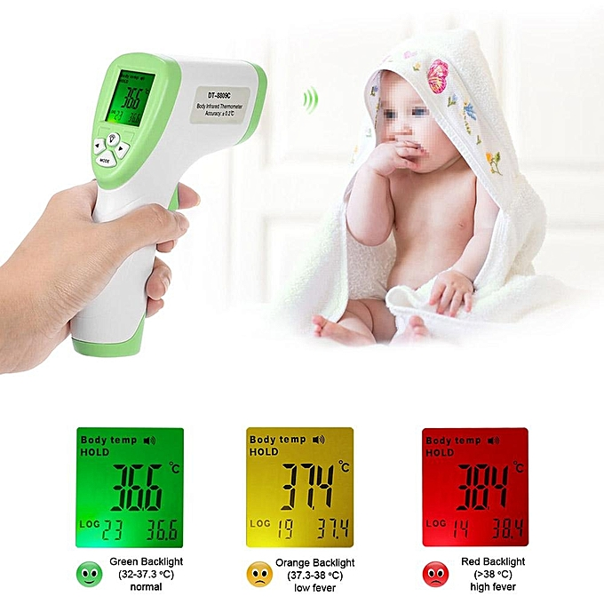 Other Digital LCD Non-contact IR Infrarouge Thermometer Forehead Body Surface Temperature Measurement Data Hold Function vert FCJMALL à prix pas cher
