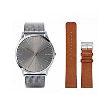f5c168ef7 Montre Jorn Skagen + bracelet de rechange en cuir tabac SKW1097 - Argenté