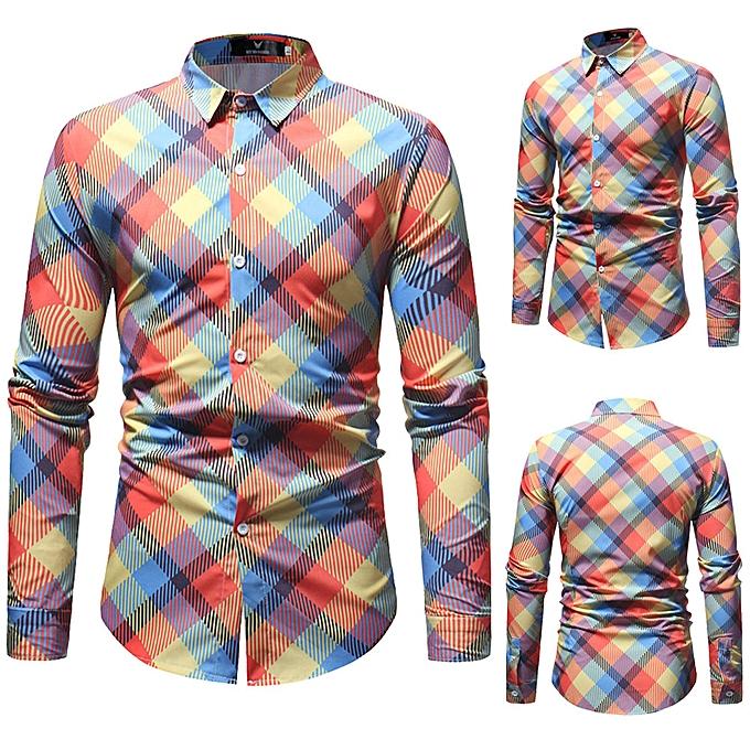 Fashion jiuhap store Man Fashion Printed Blouse Casual Long Sleeve Slim Shirts Tops à prix pas cher