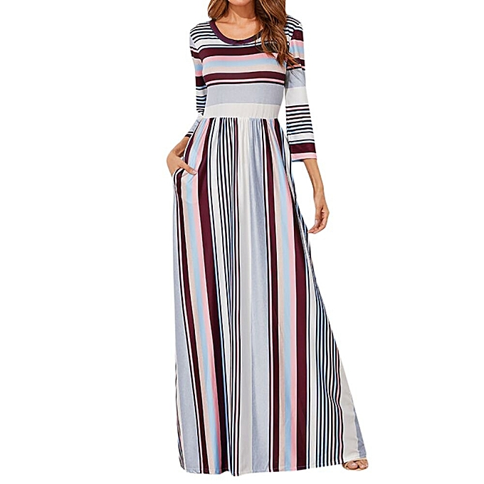 Fashion Tcetoctre Shop Wohommes Casual O Neck Elastic Waist Striped Maxi Dress With Pockets à prix pas cher