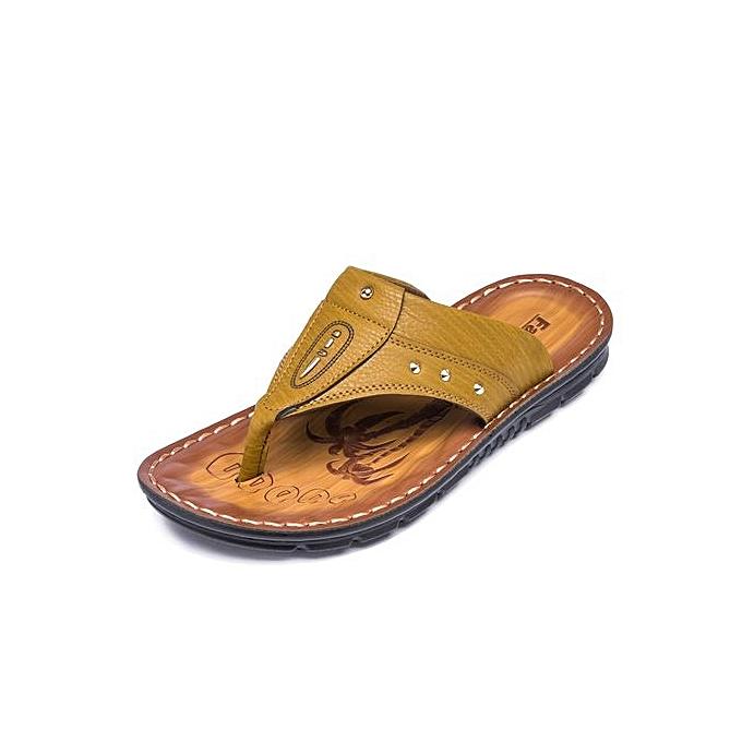 Tauntte Hommes Flip Flops Genuine Leather Men Sandals Beach chaussures (Khaki) à prix pas cher