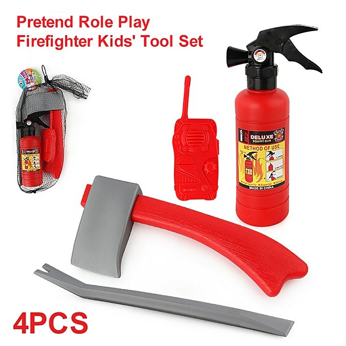 Autre Peu Enfants' Firehomme Set Pretend Role Play Firefighter Gifts for Enfants 4pcs à prix pas cher