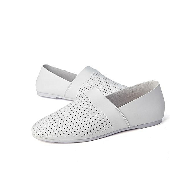 HT   HT  Soft Leather Casual Shoes Breathable Cut-Out Shoes-White à prix pas cher  | Jumia Maroc 78385e