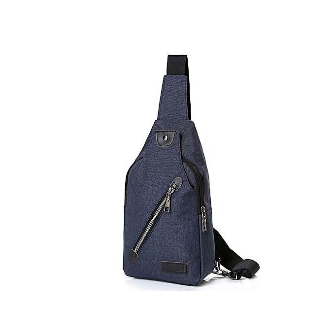 nouveauorldline de plein air Sports toile Un  sac à dos bandoulière Shoulder sac Chest sac- Navy à prix pas cher