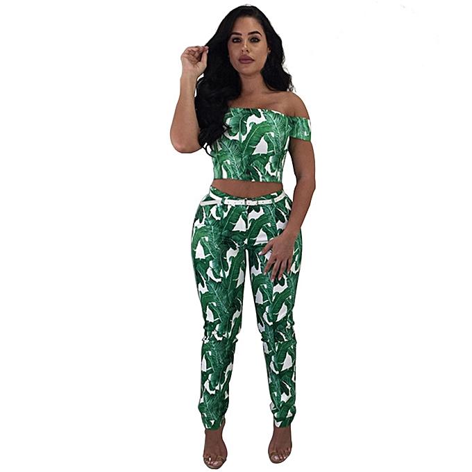 Generic Generic femmes Off The Shoulder Shirt Print Top Blouse + Long Pants Two-Piece Outfit A1 à prix pas cher