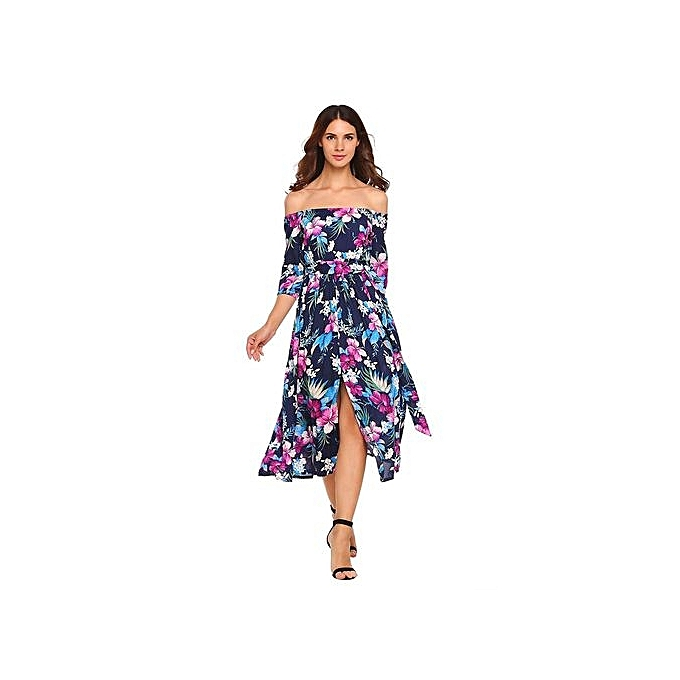 Sunshine femmes 3 4 Sleeve Off-shoulder Bohemia Style Floral Maxi Dress Split Party Beach-bleu à prix pas cher